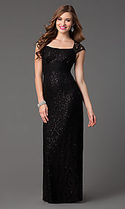 Image of cap sleeve sequin embellished lace floor length dress Style: TW-4148 Front Image