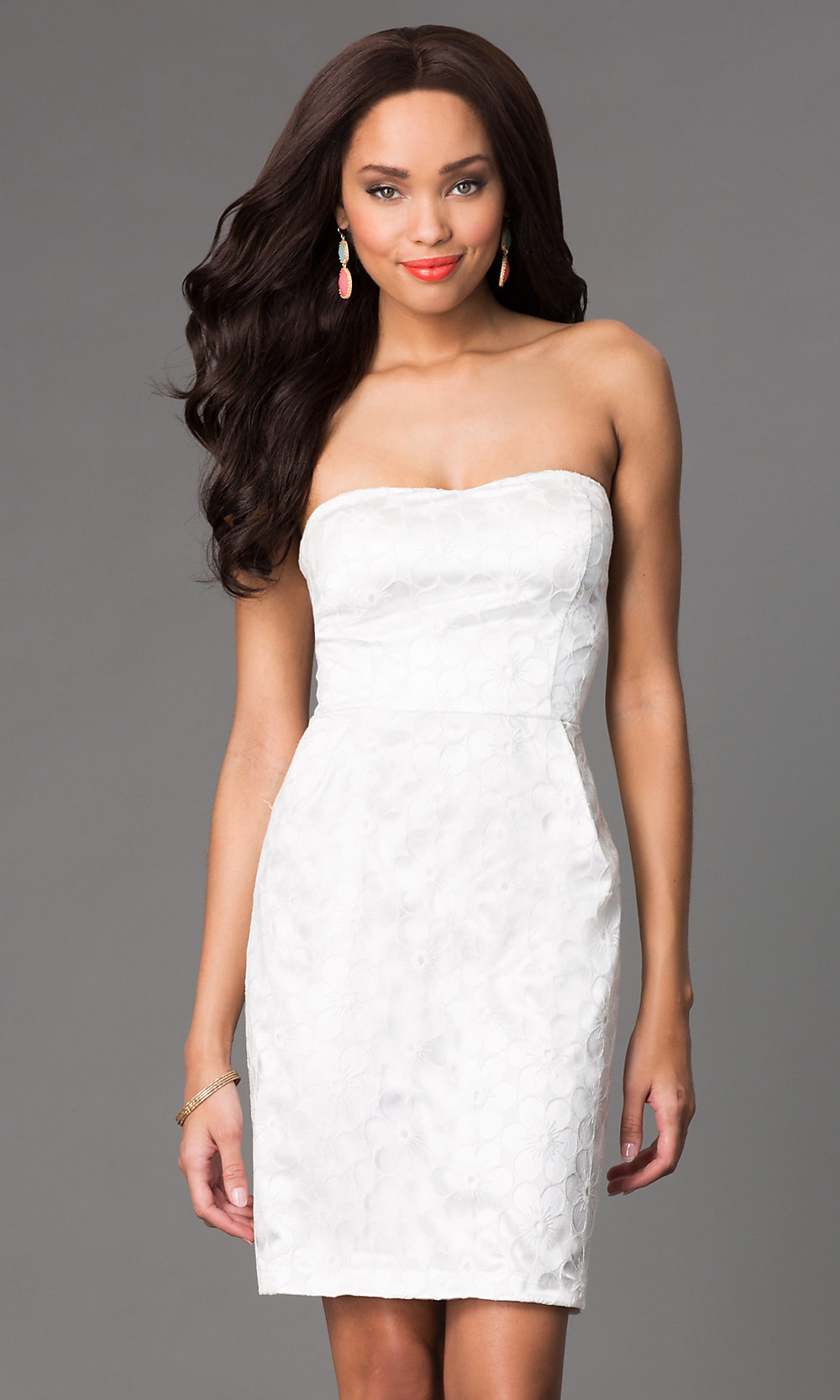 hair with strapless dress
