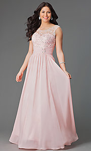 Image of long chiffon prom dress with corset back Style: DQ-8816 Detail Image 1