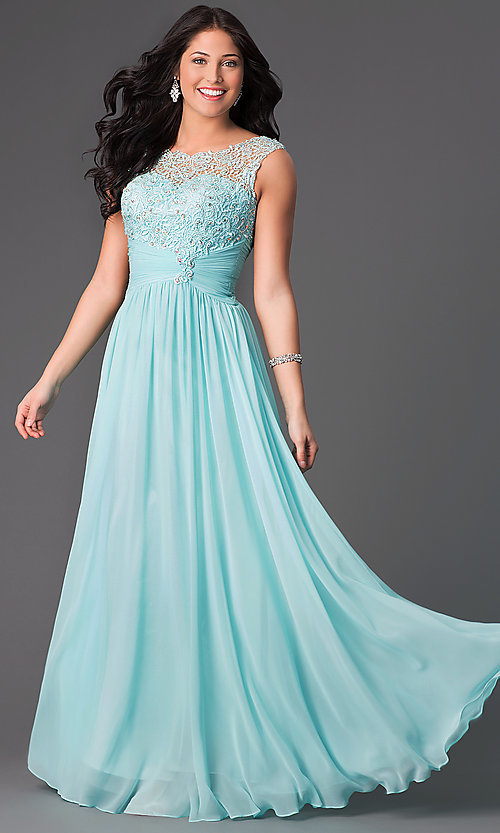 Image of long chiffon prom dress with corset back Style: DQ-8816 Detail Image 2