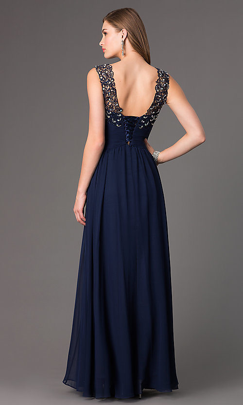 Image of long chiffon prom dress with corset back Style: DQ-8816 Back Image