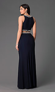 Image of long high-neck two-piece navy-blue dress. Style: NA-8161 Back Image