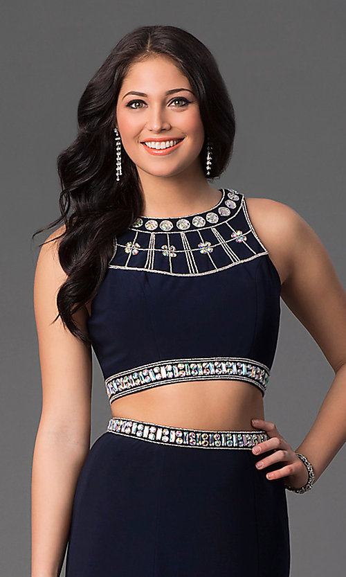 Image of long high-neck two-piece navy-blue dress. Style: NA-8161 Detail Image 1