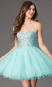 Image of short strapless jewel embellished bodice tulle skirt sweetheart dress  Style: DQ-9001 Front Image