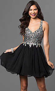 Image of Short A-Line Beaded Bodice Prom Dress Style: DQ-8997 Detail Image 3