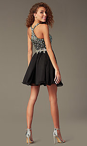Image of Short A-Line Beaded Bodice Prom Dress Style: DQ-8997 Back Image