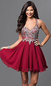 Short A-Line Beaded Bodice Prom Dress