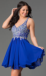 Image of Short A-Line Beaded Bodice Prom Dress Style: DQ-8997 Detail Image 1