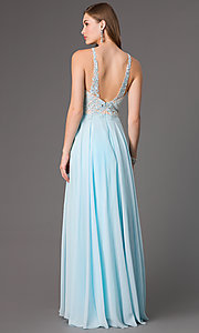 Image of floor length sleeveless illusion sweetheart lace bodice dress Style: DQ-8871 Back Image