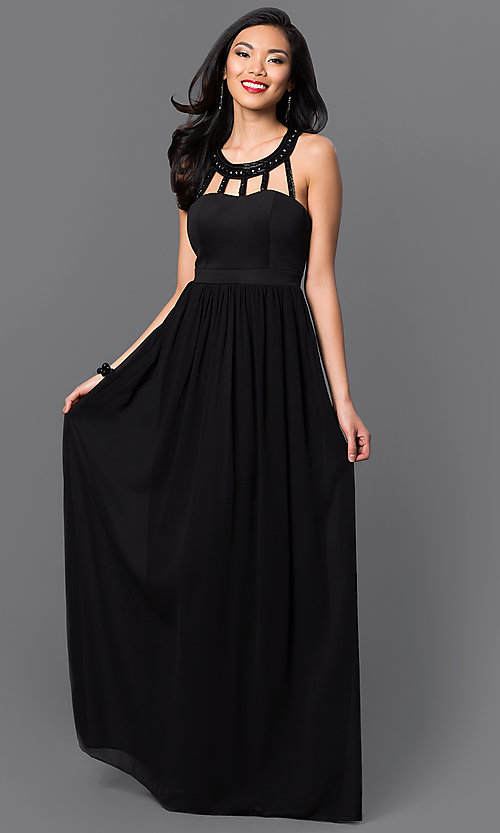 Image of cut out scoop neck jewel embellished sleeveless floor length dress. Style: LP-22615 Front Image