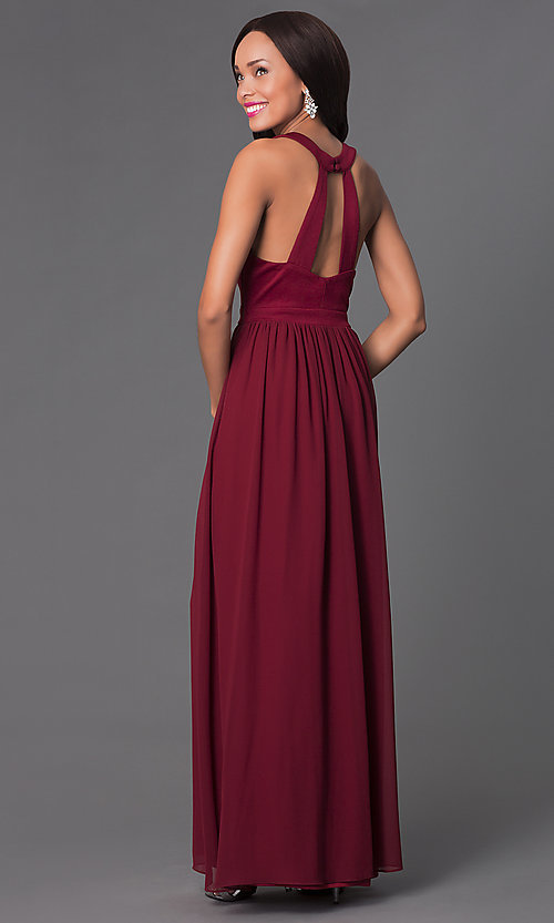 Image of cut out scoop neck jewel embellished sleeveless floor length dress. Style: LP-22615 Back Image
