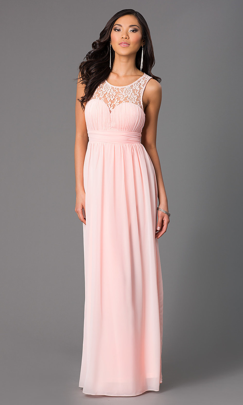 Sleeveless Floor-Length Chiffon Prom Dress-PromGirl