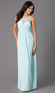 Image of long sleeveless prom dress with lace neckline. Style: LP-21299 Detail Image 1