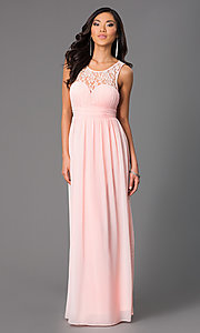 Long Sleeveless Prom Dress with Lace Neckline