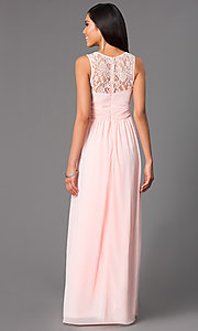 Image of long sleeveless prom dress with lace neckline. Style: LP-21299 Back Image