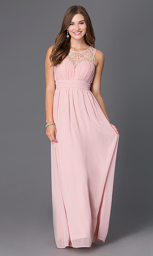 Image of long sleeveless prom dress with lace neckline. Style: LP-21299 Detail Image 2