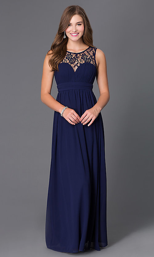 Image of long sleeveless prom dress with lace neckline. Style: LP-21299 Front Image
