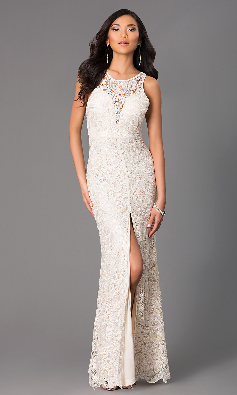 Long Lace Sleeveless Dress With Slits Promgirl