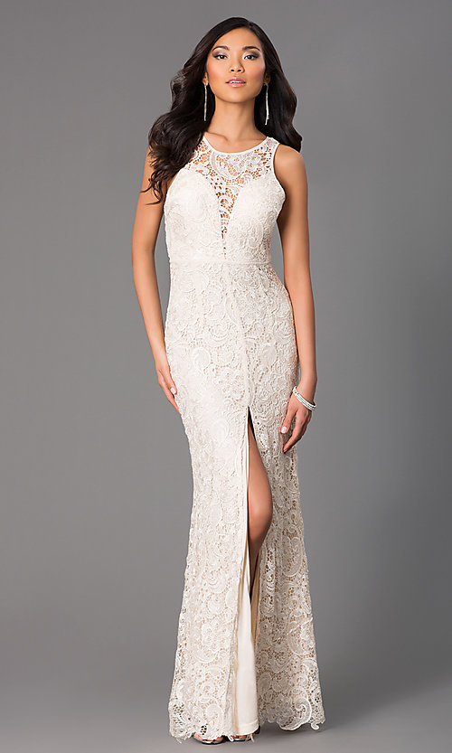 Image of long lace sleeveless dress with slit Style: LP-22888 Detail Image 1