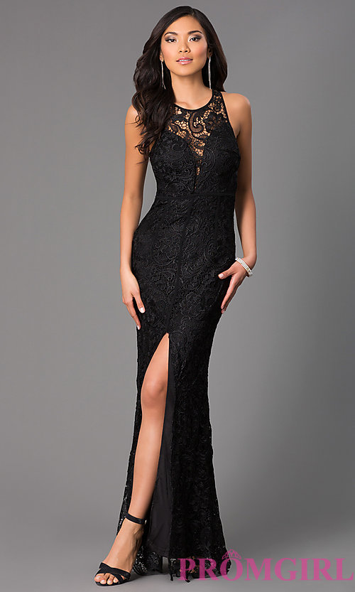 b413aea114f11 Image of long lace sleeveless dress with slit Style  LP-22888 Front Image