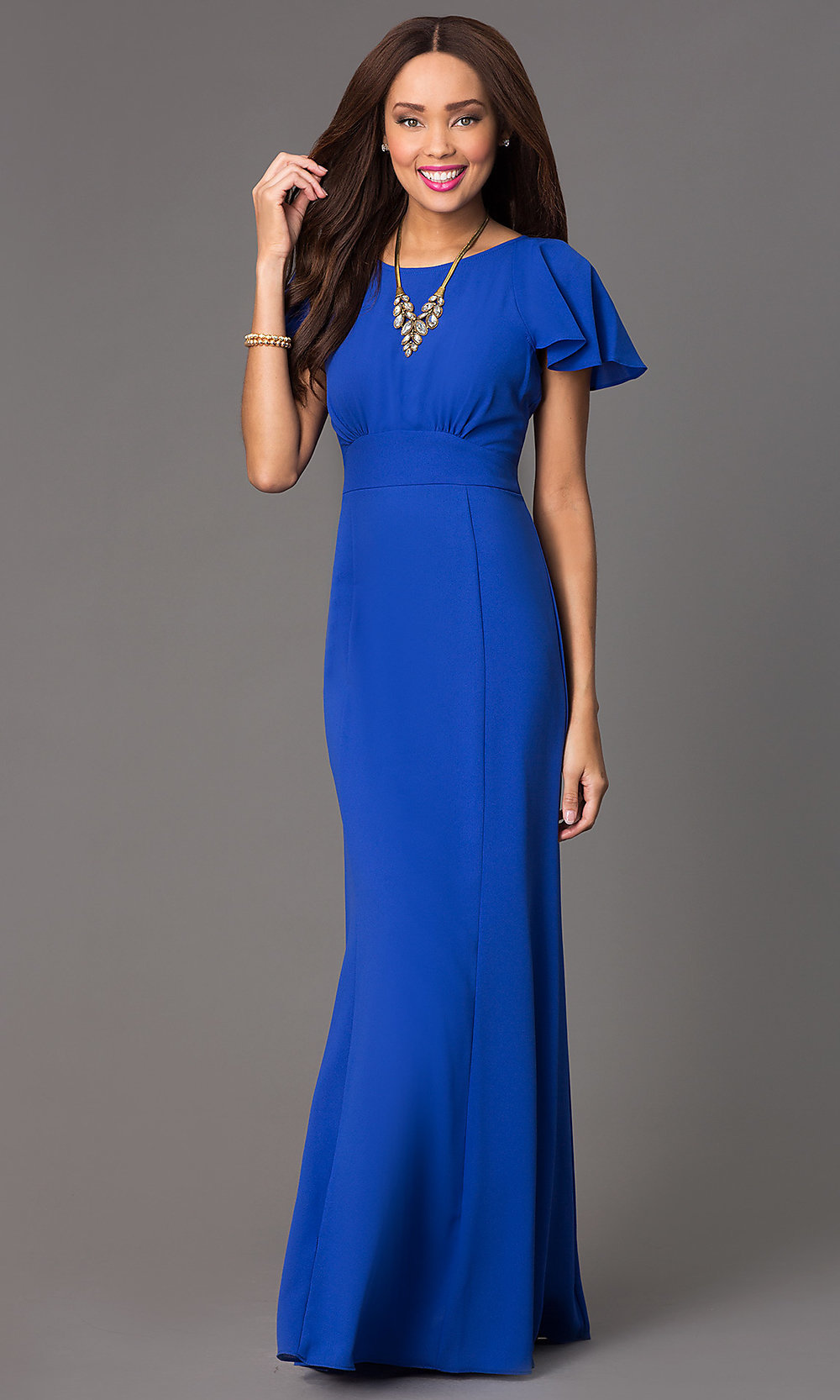 Short Sleeve Long Formal Prom Gown- PromGirl