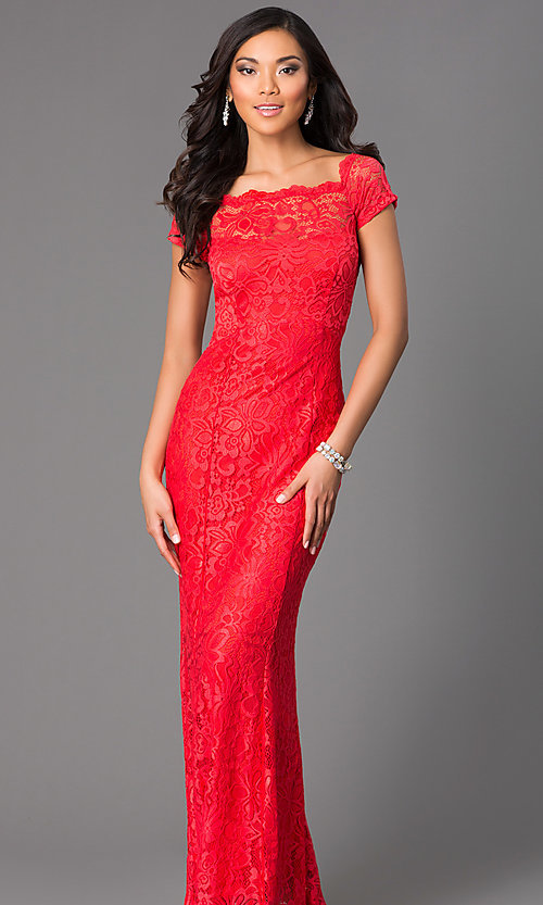 Image of long short sleeve lace dress. Style: MB-6807 Front Image