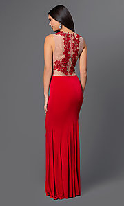 Image of sleeveless evening gown with lace bodice. Style: CQ-3661DK Back Image