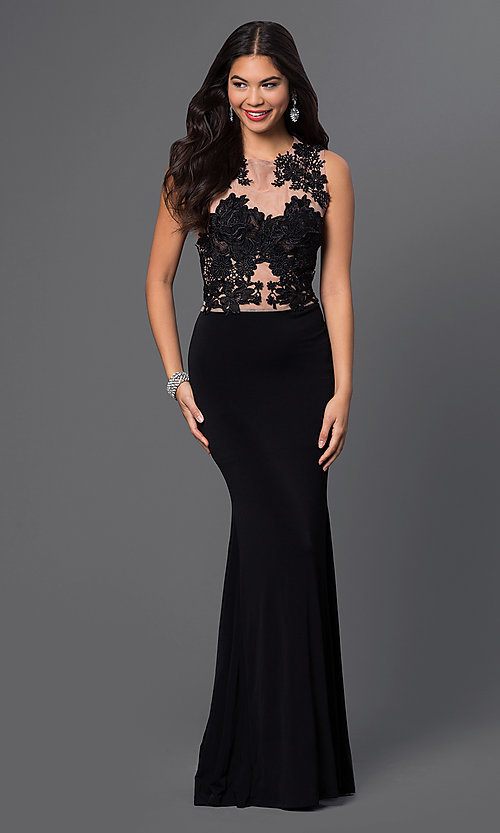 Image of sleeveless evening gown with lace bodice. Style: CQ-3661DK Detail Image 1