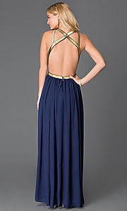 Image of floor length sleeveless open back gold detail dress Style: CQ-ISD2851 Back Image