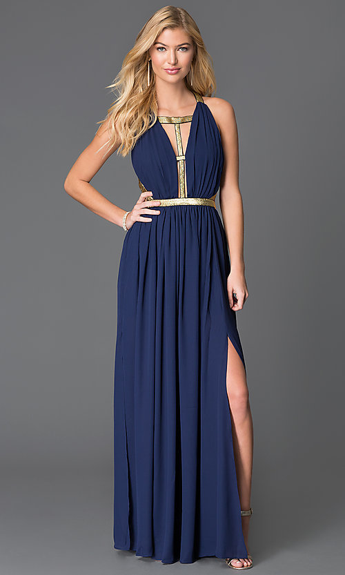 Image of floor length sleeveless open back gold detail dress Style: CQ-ISD2851 Detail Image 1