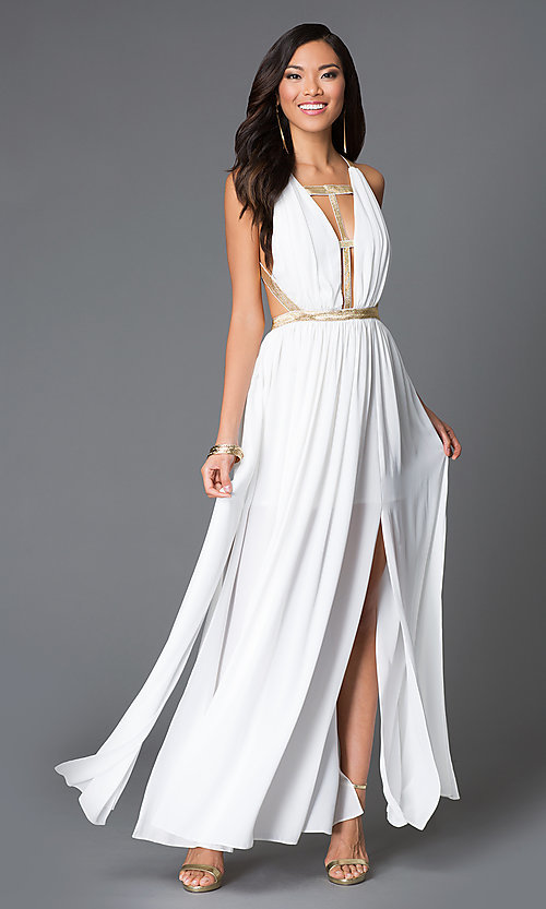 Image of floor length sleeveless open back gold detail dress Style: CQ-ISD2851 Front Image