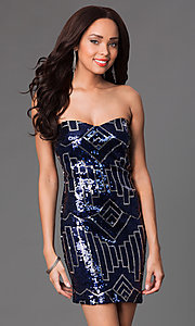 Image of short strapless navy and silver sweetheart dress Style: RR-GNN12458I Front Image