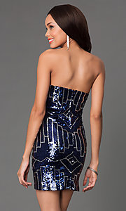 Image of short strapless navy and silver sweetheart dress Style: RR-GNN12458I Back Image