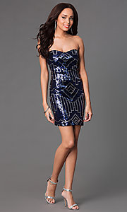 Image of short strapless navy and silver sweetheart dress Style: RR-GNN12458I Detail Image 1