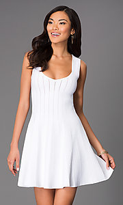 Short Sleeveless White Scoop Neck Dress by Wow Couture