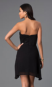 Image of black strapless sweetheart short party dress. Style: WC-K2705 Back Image