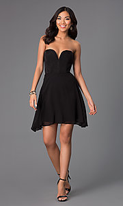 Image of black strapless sweetheart short party dress. Style: WC-K2705 Detail Image 1