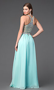 Image of sleeveless floor length jewel embellished bodice racer back chiffon skirt sweetheart dress Style: DQ-8998 Back Image