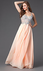Image of sleeveless floor length jewel embellished bodice racer back chiffon skirt sweetheart dress Style: DQ-8998 Front Image