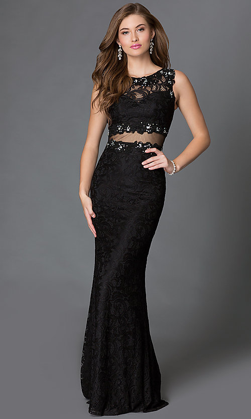 Image of lace floor length mock two piece sleeveless dress Style: DQ-9040 Front Image