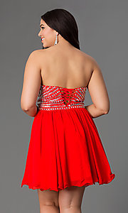 Image of semi-formal plus-size party dress with rhinestones. Style: NA-6033p Back Image
