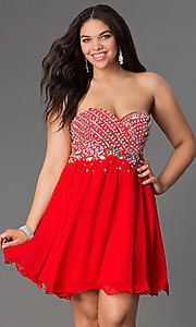 Image of semi-formal plus-size party dress with rhinestones. Style: NA-6033p Front Image