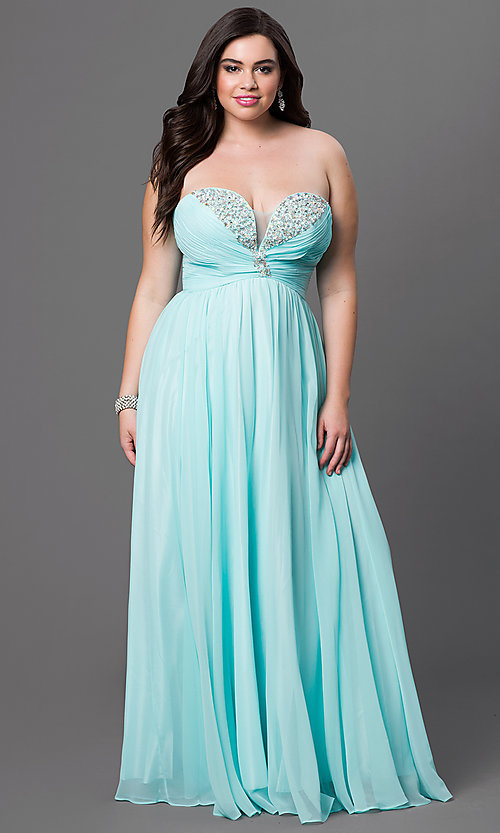 Image of plus-size strapless long prom dress with jewel detailing. Style: DQ-8693p Front Image