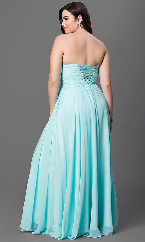 Image of plus-size strapless long prom dress with jewel detailing. Style: DQ-8693p Back Image