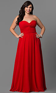 Image of long strapless plus-size prom dress with corset. Style: DQ-8789p Front Image