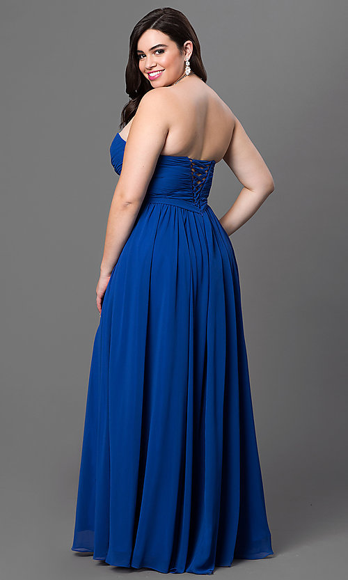 Image of long strapless plus-size prom dress with corset. Style: DQ-8789p Back Image