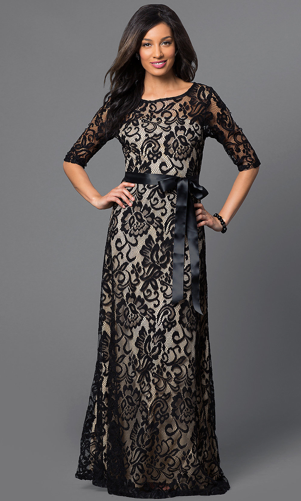 Long Lace Half-Sleeved Formal Dress-PromGirl