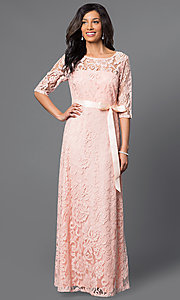 Image of long lace half-sleeve satin waist belt dress Style: SF-8793 Detail Image 1