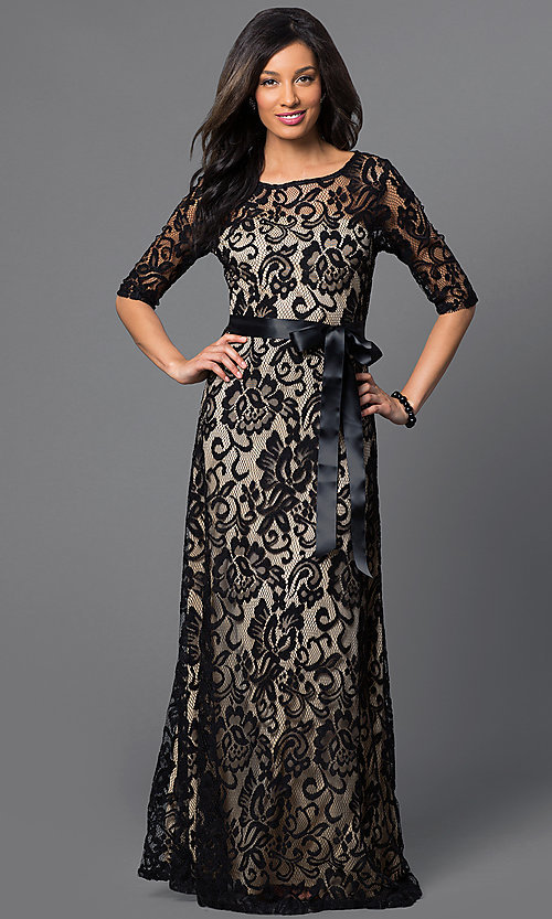 Image of long lace half-sleeve satin waist belt dress Style: SF-8793 Detail Image 2