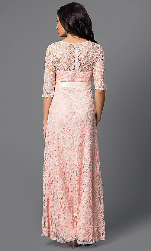 Image of long lace half-sleeve satin waist belt dress Style: SF-8793 Back Image